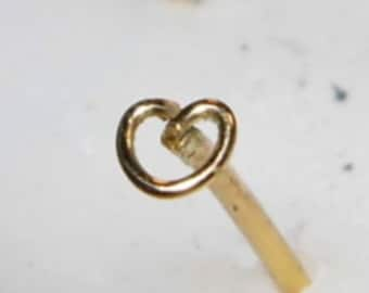 """Nose Stud """" Heart """" solid 18k Yellow Gold"""
