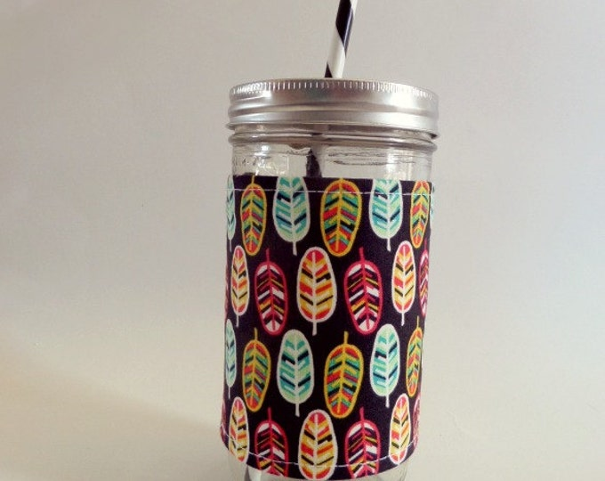 24oz Mason Jar Tumbler with Feathers Insulated Cozy