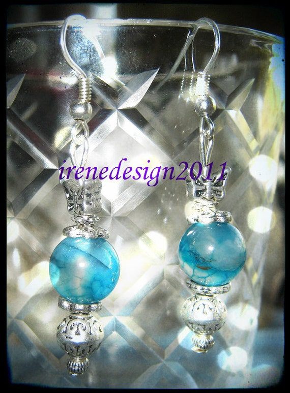 Handmade Silver Earrings with Blue Vein Agate & Butterfly by IreneDesign2011