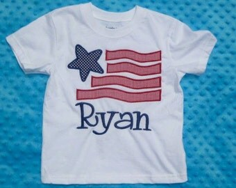 Personalized 4th of July Patriotic Star Flag Applique Shirt or Onesie Girl Boy