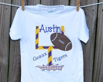 Personalized Initial Football Goal Post Applique Shirt or Onesie