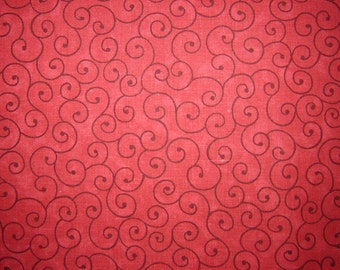 Red Tilt a Whirl Quilting Fabric