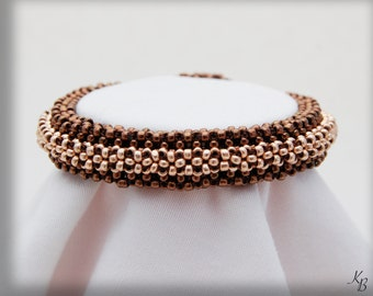 Brown & Gold 3D Seed Bead Bracelet