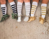 One Pair | KNEE HIGH SOCKS | Stripes | Black, Gold, Silver