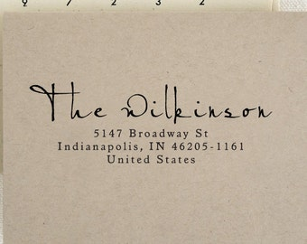 Personalized Custom Return Address Stamp Wedding Name Gift Card Handle Mounted Rubber Stamp Or Pre-inked Stamp Self inking Stamp RE632