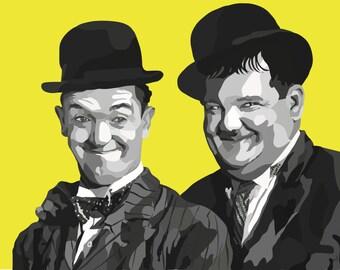 Laurel and Hardy Digital Art Print....