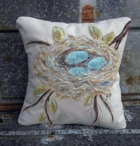 Hand painted robin 39 s nest with blue eggs pillow by for Hand painted pillows