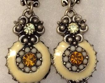 Vintage Enamel Rhinestones Earrings