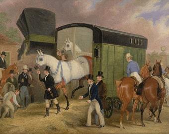 "The Derby Pets, The Arrival, 1840 James Pollard, Horses, Jockey 8x10"" Cotton Canvas Print"