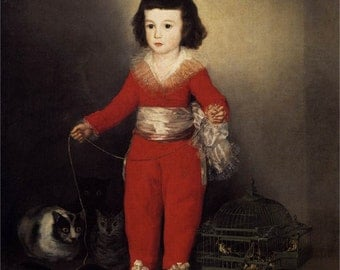"""8x10"""" Cotton Canvas Print, Red Boy, 1788, Francisco DeGoya, Boy in Red with Cat"""