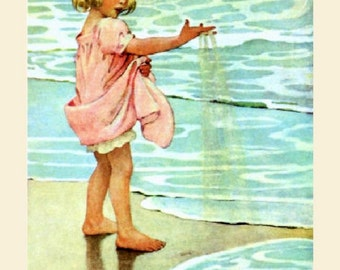 "Jessie Willcox Smith, Little Drops of Water, Girl, Shore, 8x10"" Cotton Canvas Print"