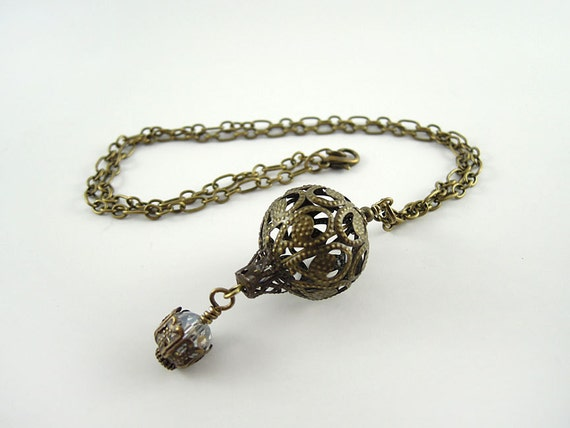 Hot Air Balloon Necklace - Antique Bronze & Crystal