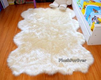 Premium New Sheepskin Rug White Black Brown Colors Plush Soft Octo Area Rug Nursery Room Rug