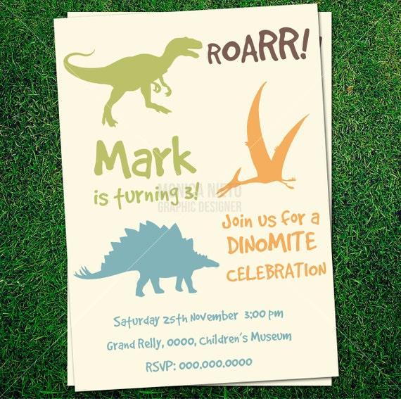 Dinosaurio para imprimir silueta invitación por MonicaGraphicDesign