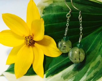 Sterling Silver Prehnite Earrings.