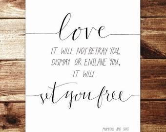 Love Will Not Betray You - Mumford and Sons Print - Hand lettered
