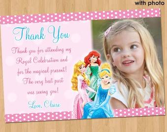 Disney Princess Thank You Card -  Princess Thank You Note - Princess Birthday Party Printable Photo - Ariel Cinderella Aurora Invitation