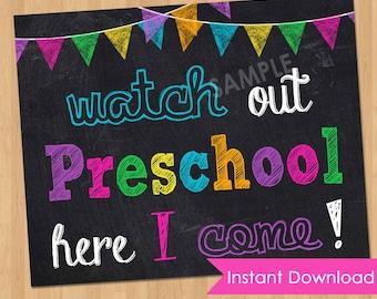 First Day of Preschool Sign INSTANT DOWNLOAD - First Day of Preschool Chalkboard Sign - School Printable Photo Prop Pre K 1st Prek