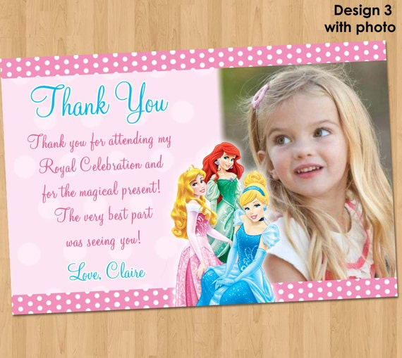 disney princess thank you card princess thank you note, Birthday invitations