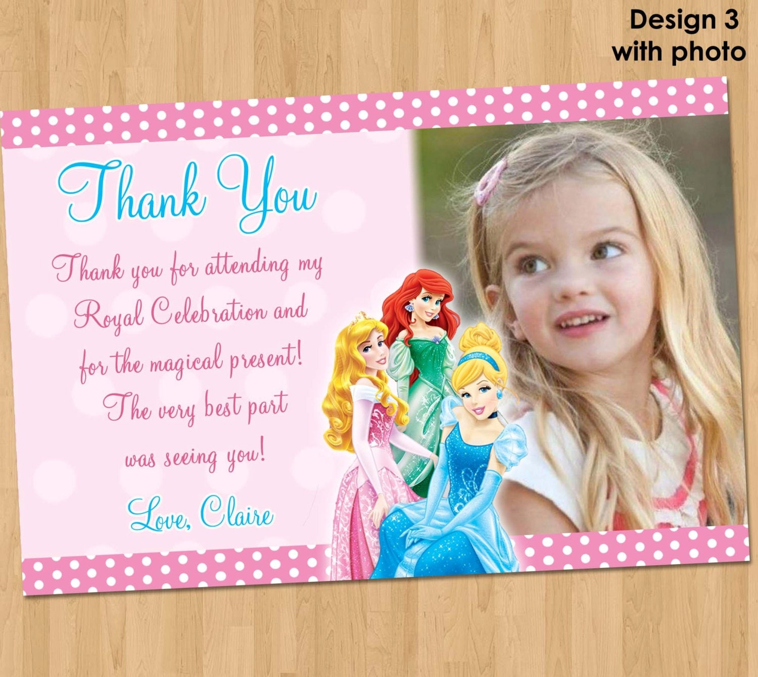 Disney Princess Thank You Card Princess Thank You Note