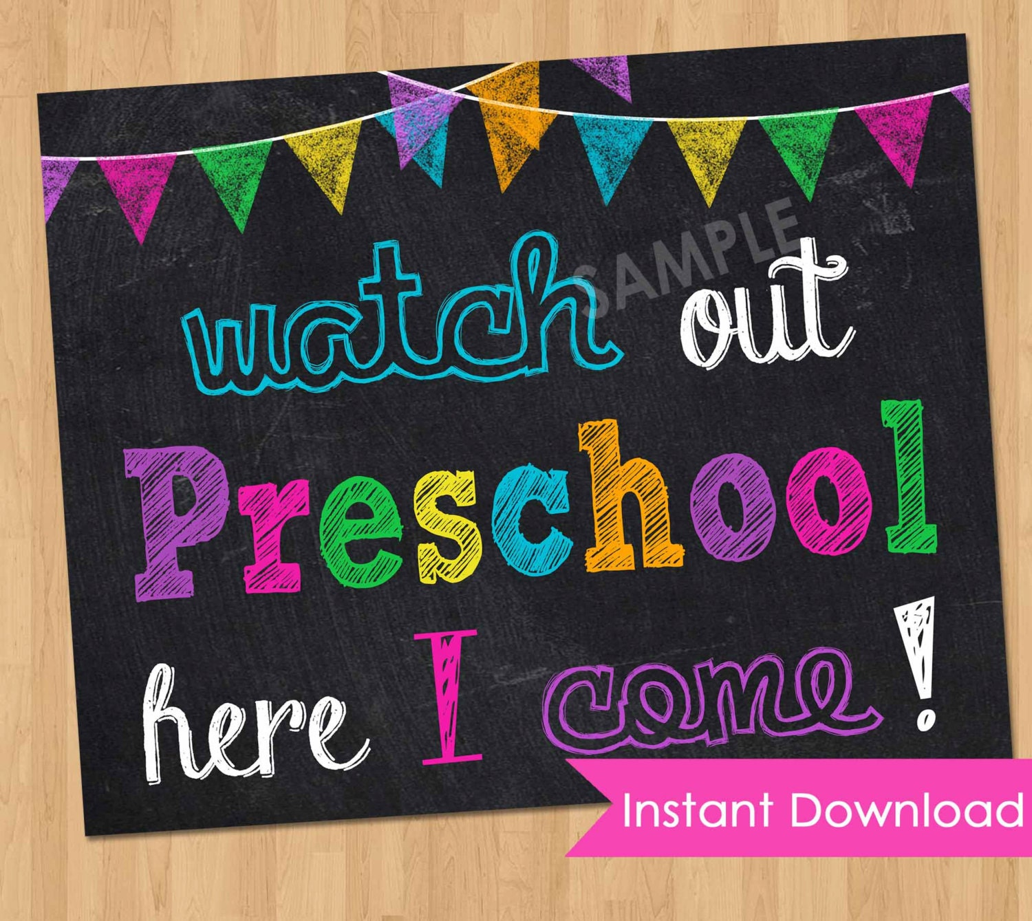 This is a photo of Mesmerizing First Day of Preschool Sign Printable