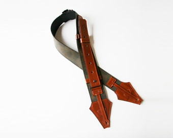 Guitar Strap(2Dsign Collection) Rust-colored Olive-Green genuine leather strap : Handmade,good quality,good design and a unique by ARTISTAYA