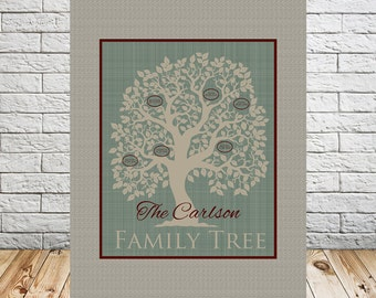 Family Tree Personalized Wall Art, Christmas Gift or Anniversary Gift for Grandparents or Parents, Any Size