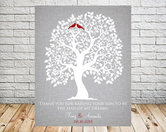 Thank You for Raising Your Son to Be, Grooms Parents, Mother of the Groom, Wedding Gift, Tree Art Print
