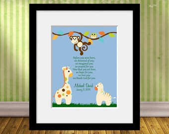 ADOPTION Animal Wall Art Print, Adoption Art, Adoption Print, Nursery Decor, Before You Were Born