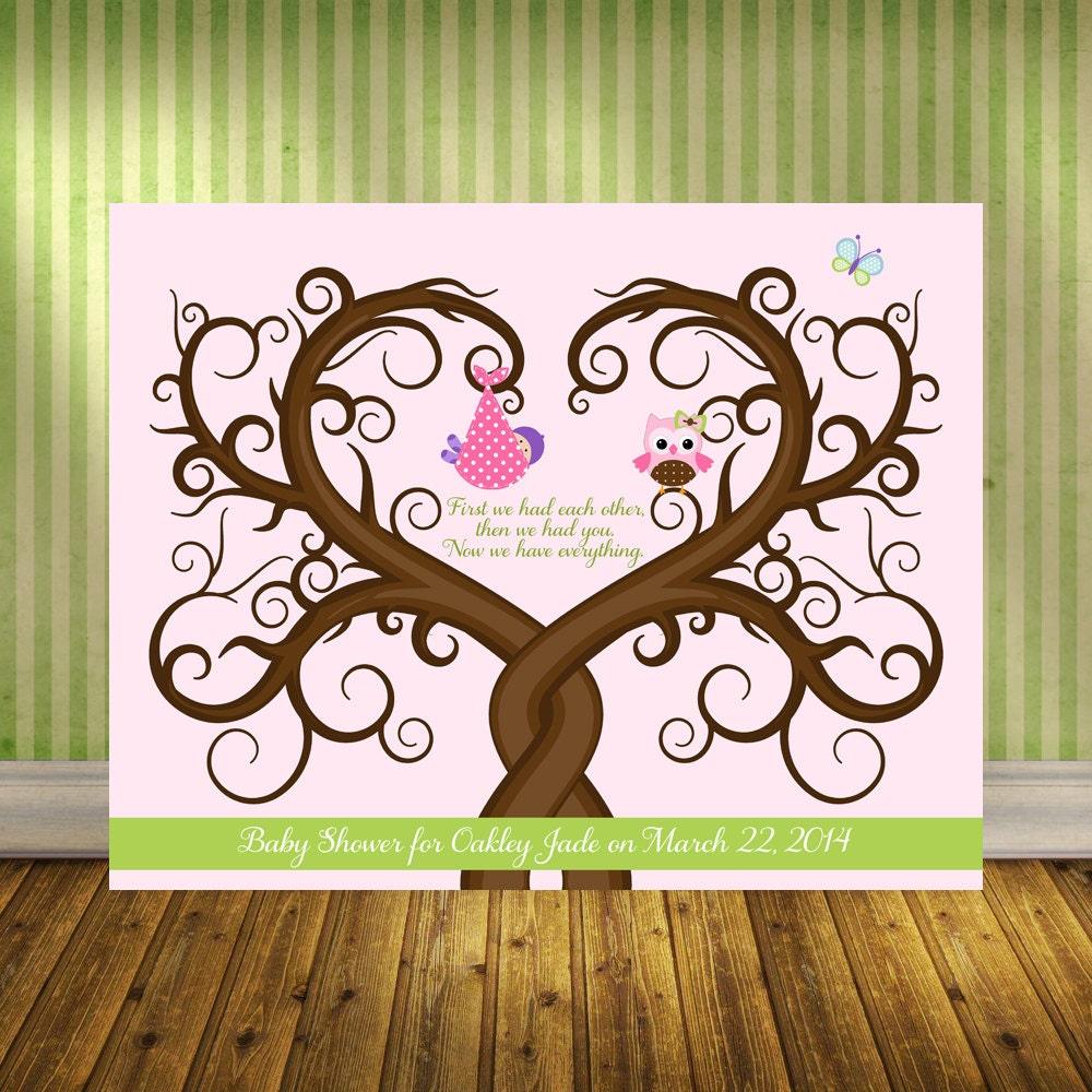 baby guestbook alternative baby shower fingerprint tree wall