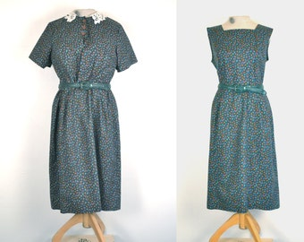 1950s paisley day dress and bolero // vintage fitted patterned frock // xxl