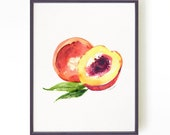 Peach art print, watercolor painting, Kitchen art, Fruit illustration, Art for kitchen, Summer decor, Fruit painting Buy 2 Get 1 Free
