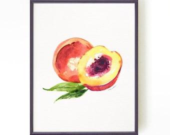 Peach art print, watercolor painting, Kitchen art, Fruit illustration, Art for kitchen, Summer decor, Fruit painting Buy 2 Get 1 Free