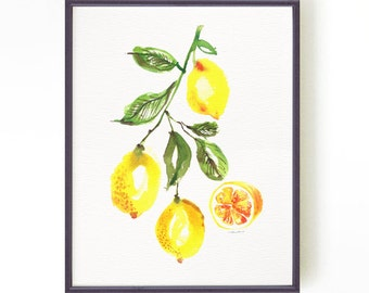 Kitchen art print, Lemon tree watercolor painting, Lemon print, Botanical print, Yellow home decor, Yellow fruit painting Buy 2 Get 1 Free