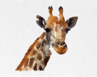 Giraffe Painting Art Print   Animal black orange grey brown Home Decor  Wall Decor Kitchen Decor Beach Decor