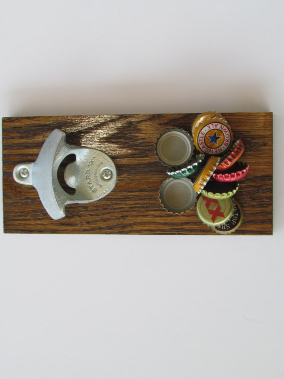 Items similar to wall mounted bottle opener with magnet cap catch red oak on etsy - Bottle opener wall mount magnet ...