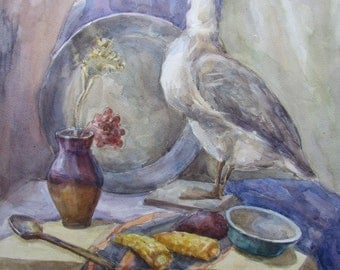 """ORIGINAL Watercolor PAINTING still life with goose and corn 24.5""""x 17.5"""""""