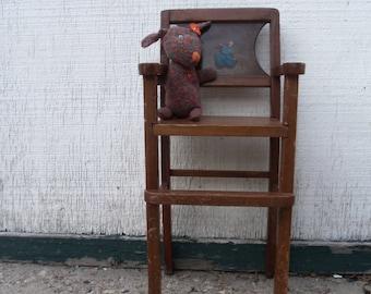 Vintage Shabby Distressed Wood Doll Highchair