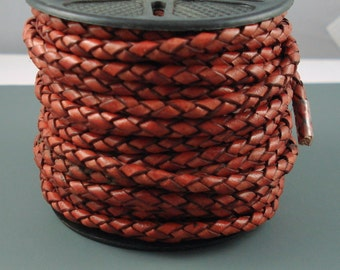 Leather Braided Cord, 4MM Antique Tan Bolo Leather, Excellent Quality All Leather, One Yard