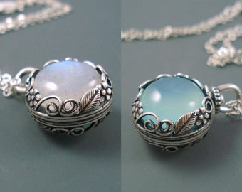 Moonstone Pendant and Chalcedony Pendant, 16MM Revolving, Reversible Pendant with Moonstone on One Side and Aqua Chalcedony on the Other