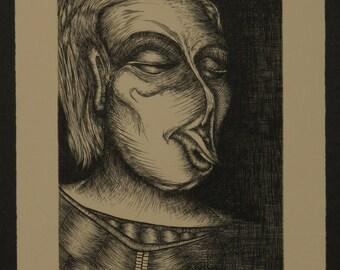 metal engraving - Her Deformity - print form zinc