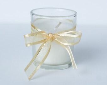 Set of 100 Votive Candles Gold Shimmer Ribbon Wedding **FREE SHIPPING**