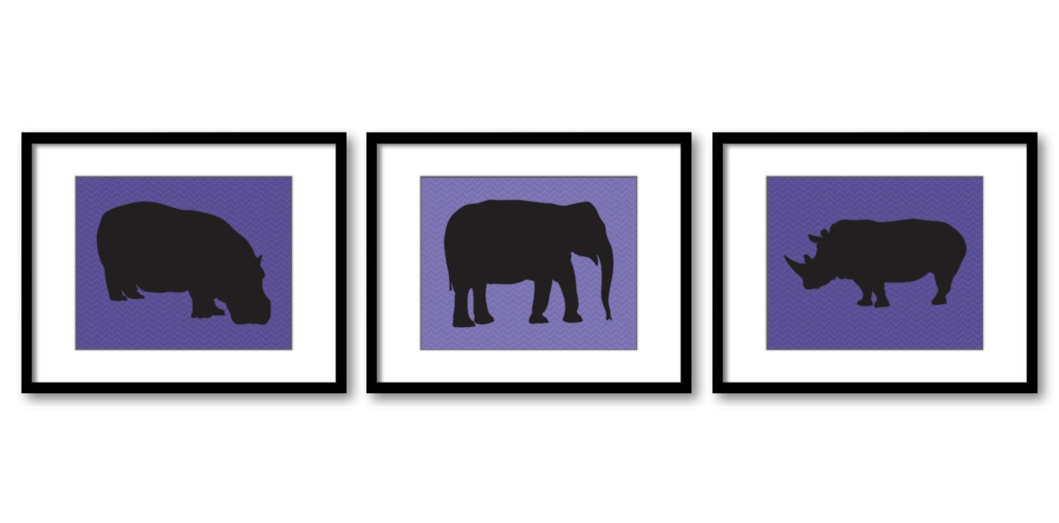 African Safari Animals Art Prints Navy Blue Purple Chevron Set of 3 Hippo Elephant Rhino Boys Art Nu