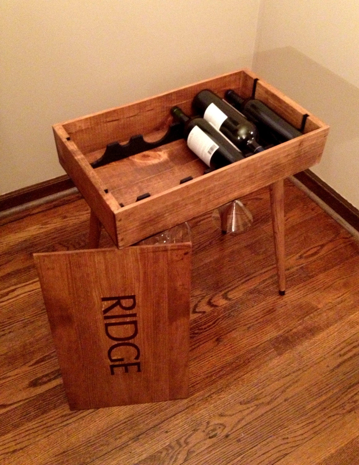 wine box end table side table wine storage
