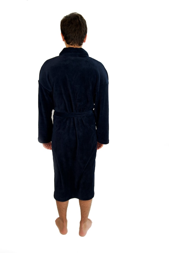 navy blue plush bath robe monogrammed his and hers robes. Black Bedroom Furniture Sets. Home Design Ideas