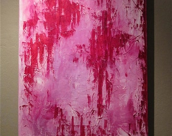 "Large Abstract Painting, Wall Art, Original, Pink, Red, Home Decor, Acrylic on Canvas, Textured, Modern, Contemporary, Unique, ""BLOODLUST"""