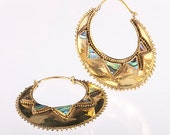 African inspired Brass hoops with abalone shell inlay, Tribalik Jewelry, Tribal hoops, Gypsy Style Hoops (code 25)