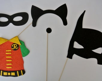 Super Hero Party Bat Inspiered  Photo Booth Party Props Robin, Cat woman