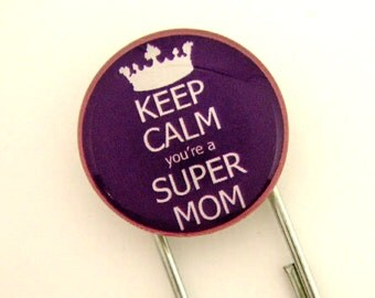 Keep Calm You're A Super Mom, Jumbo Paperclip Bookmark with Glass Tile, Purple