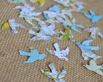 atlas dove wedding confetti, map dove confetti, bridal shower dove confetti, vintage atlas dove wedding confetti- 100 pieces